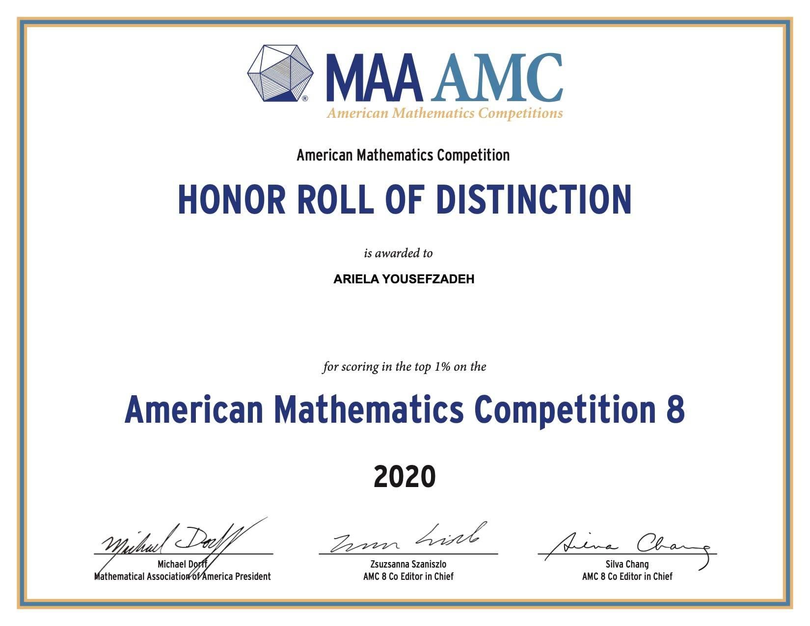 AMC 8 Mathematics Competition